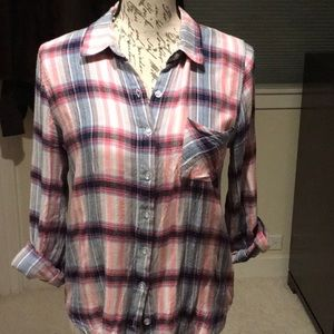 Sweet Wanderer, plaid button up shirt. Like NEW!